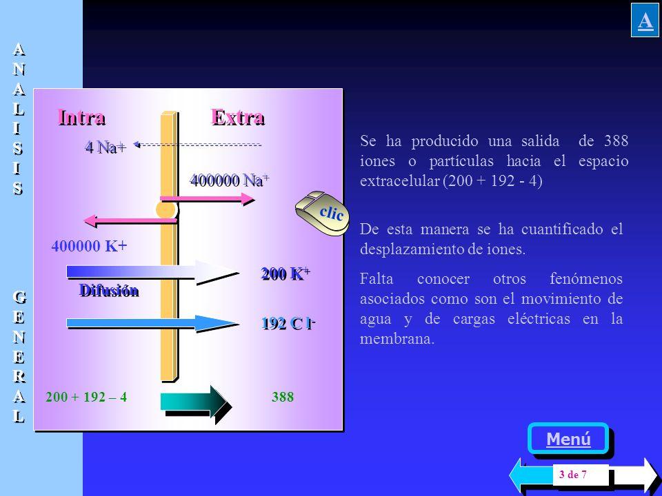 Intra Extra 400000 Na + 400000 K+ 4 Na+ Se ha desarrollado antes la mayor permeabilidad......................... del potasio, pero si se supone concre