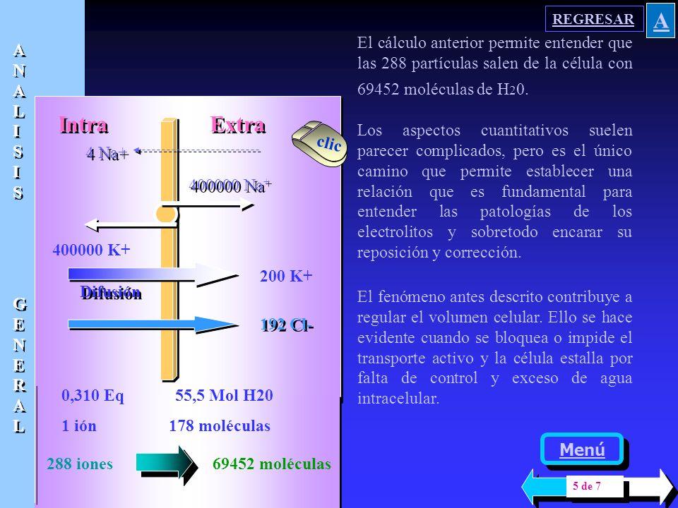 El modelo presentado supone una concentración de 0,310 Eq / l ( solución 0.150N ) Intra Extra 400000 Na + 400000 K + 4 Na+ Difusión 200 K + 192 Cl - E