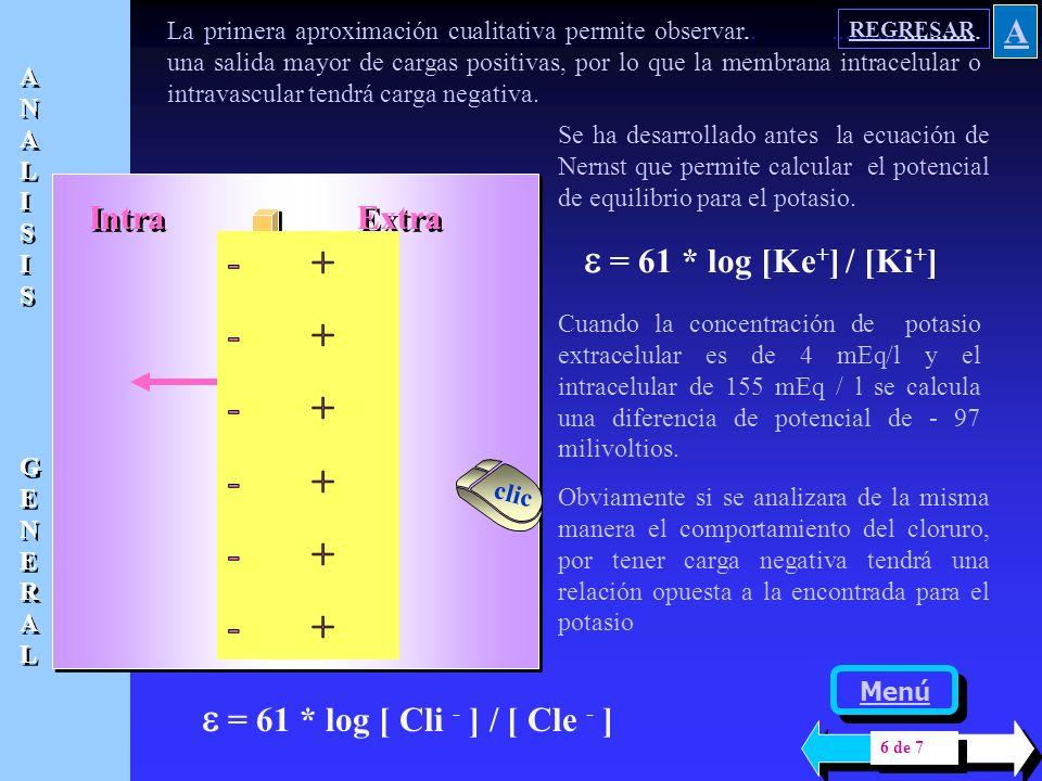Intra Extra 400000 Na + 400000 K+ 4 Na+ Difusión 200 K+ 192 Cl- 0,310 Eq 55,5 Mol H20 1 ión 178 moléculas El cálculo anterior permite entender que las