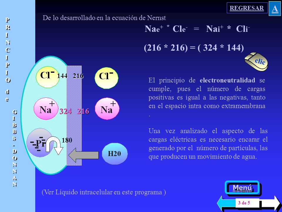 180 Na e + * Cl e - = Na i + * Cl i - De la expresión simplificada de la Ecuación de Nernst, se ha concluido que, en estado estacionario, el producto