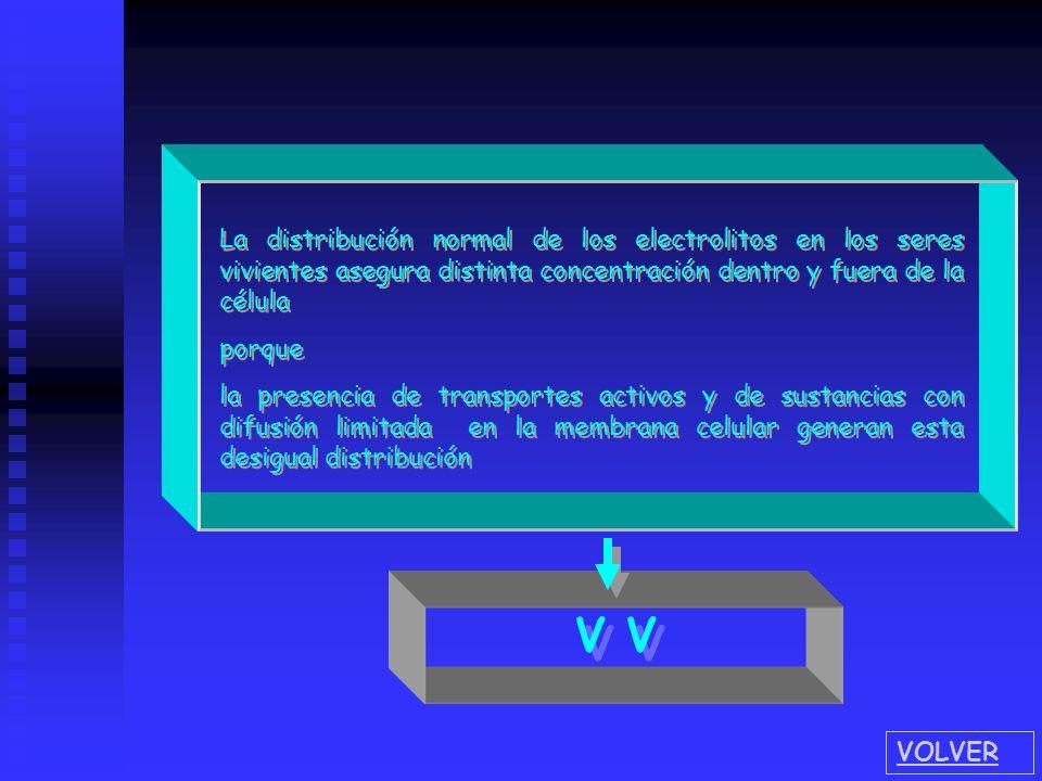 La distribución normal de los electrolitos en los seres vivientes asegura distinta concentración dentro y fuera de la célula porque la presencia de tr