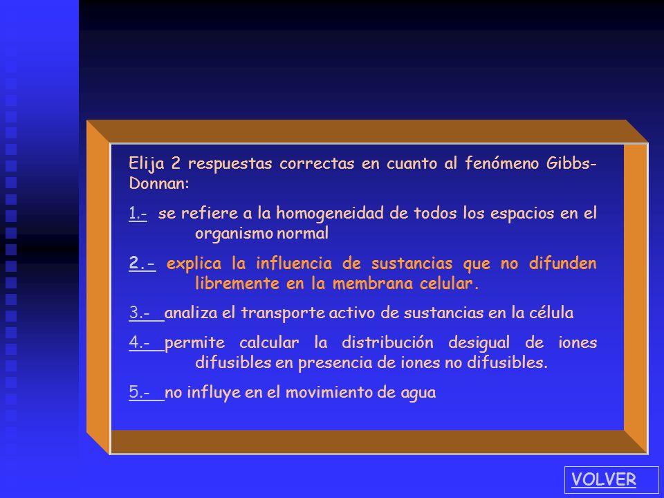 Elija 2 respuestas correctas en cuanto al fenómeno Gibbs- Donnan: 1.- 1.- se refiere a la homogeneidad de todos los espacios en el organismo normal 2.