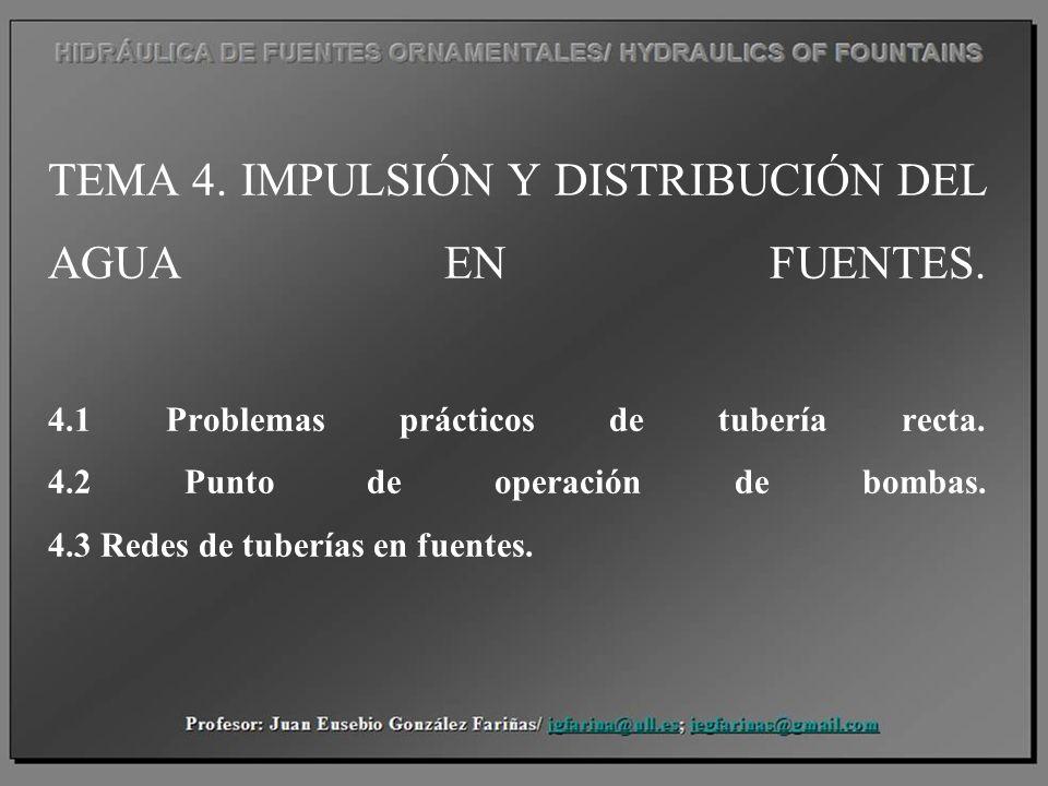 TEMA 4. IMPULSIÓN Y DISTRIBUCIÓN DEL AGUA EN FUENTES. 4.1 Problemas prácticos de tubería recta. 4.2 Punto de operación de bombas. 4.3 Redes de tubería