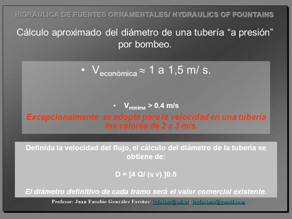 Cálculo aproximado del diámetro de una tubería a presión por bombeo. V económica 1 a 1,5 m/ s. V mínima > 0.4 m/s Excepcionalmente se adopta para la v