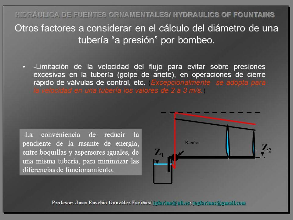 Otros factores a considerar en el cálculo del diámetro de una tubería a presión por bombeo. -Limitación de la velocidad del flujo para evitar sobre pr