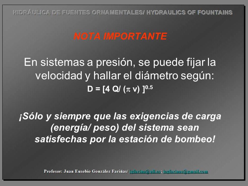 NOTA IMPORTANTE En sistemas a presión, se puede fijar la velocidad y hallar el diámetro según: D = [4 Q/ ( v) ] 0.5 ¡Sólo y siempre que las exigencias