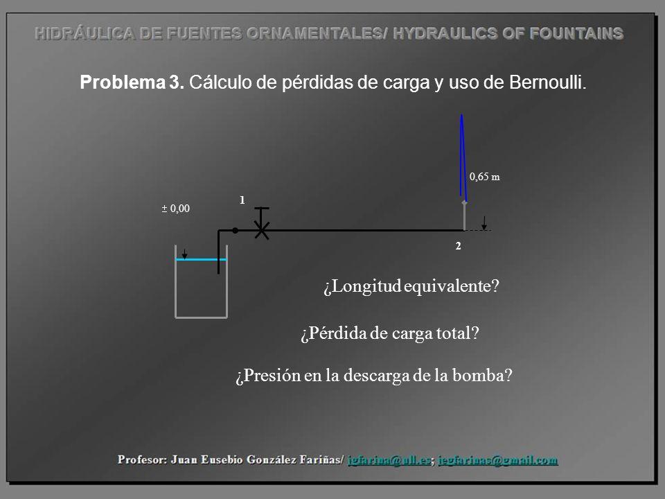 Problema 3. Cálculo de pérdidas de carga y uso de Bernoulli. 0,00 0,65 m 1 2 ¿Longitud equivalente? ¿Pérdida de carga total? ¿Presión en la descarga d