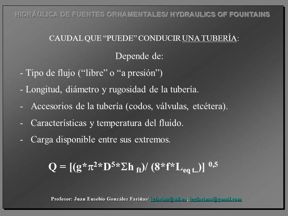 CAUDAL QUE PUEDE CONDUCIR UNA TUBERÍA: Depende de: - Tipo de flujo (libre o a presión) - Longitud, diámetro y rugosidad de la tubería. -Accesorios de