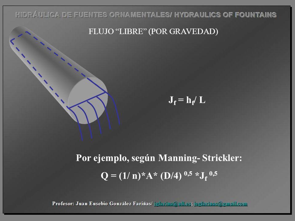 FLUJO LIBRE (POR GRAVEDAD) J f = h f / L Por ejemplo, según Manning- Strickler: Q = (1/ n)*A* (D/4) 0,5 *J f 0,5
