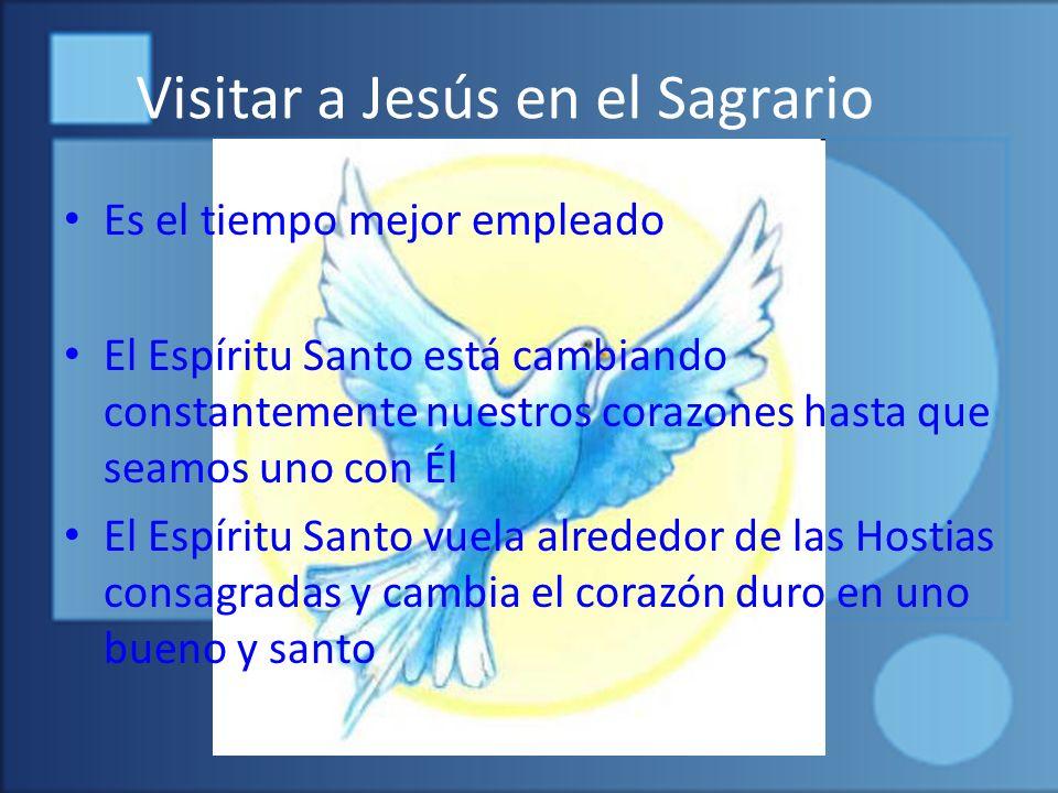 Visitar a Jesús en el Sagrario Es el tiempo mejor empleado El Espíritu Santo está cambiando constantemente nuestros corazones hasta que seamos uno con Él El Espíritu Santo vuela alrededor de las Hostias consagradas y cambia el corazón duro en uno bueno y santo