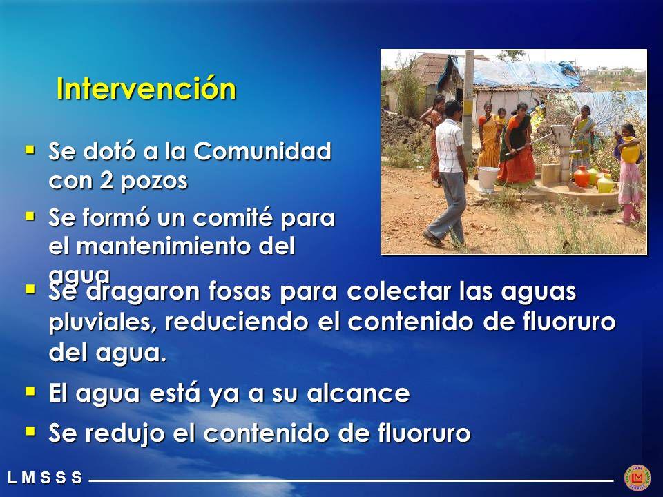 L M S S S Intervención Se dotó a la Comunidad con 2 pozos Se dotó a la Comunidad con 2 pozos Se formó un comité para el mantenimiento del agua Se formó un comité para el mantenimiento del agua Se dragaron fosas para colectar las aguas pluviales, reduciendo el contenido de fluoruro del agua.