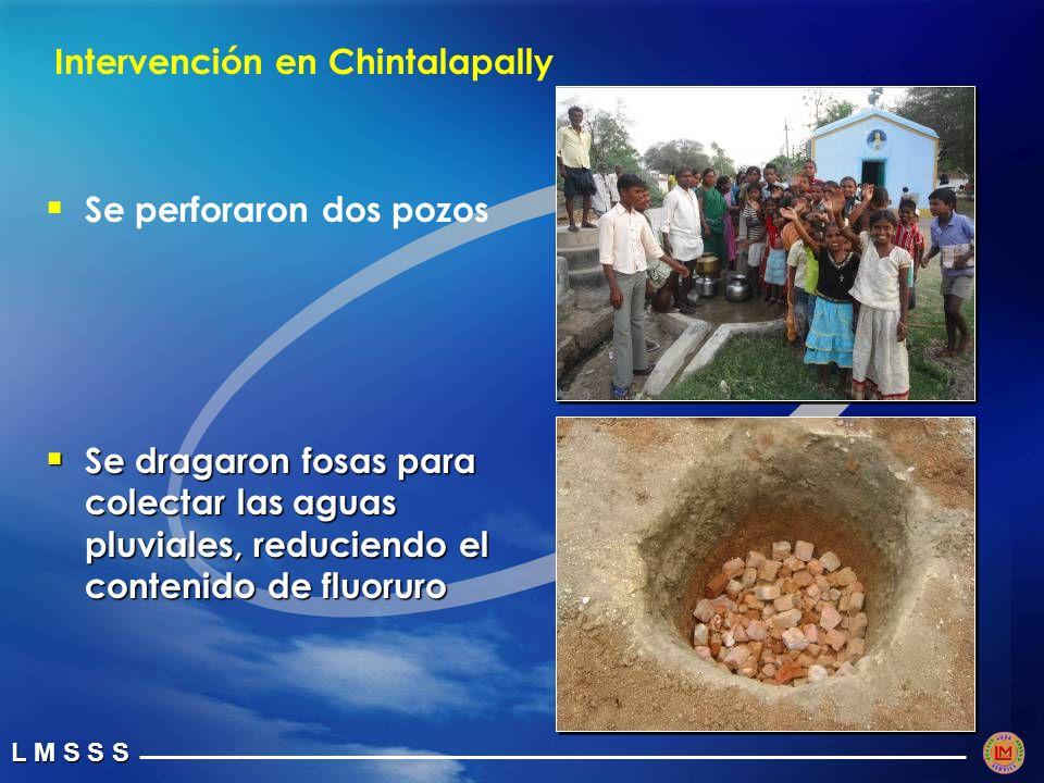 L M S S S Intervención en Chintalapally Se perforaron dos pozos Se dragaron fosas para colectar las aguas pluviales, reduciendo el contenido de fluoruro Se dragaron fosas para colectar las aguas pluviales, reduciendo el contenido de fluoruro