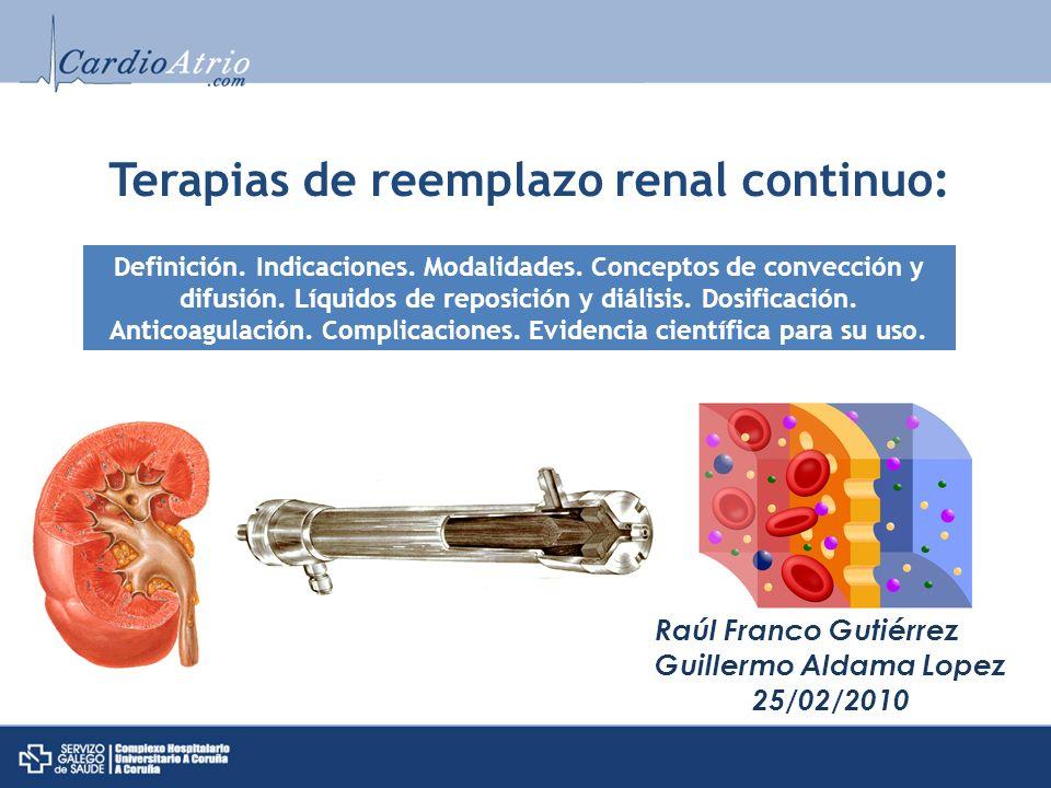 Terapias de reemplazo renal continuo: Raúl Franco Gutiérrez Guillermo Aldama Lopez 25/02/2010 Definición. Indicaciones. Modalidades. Conceptos de conv
