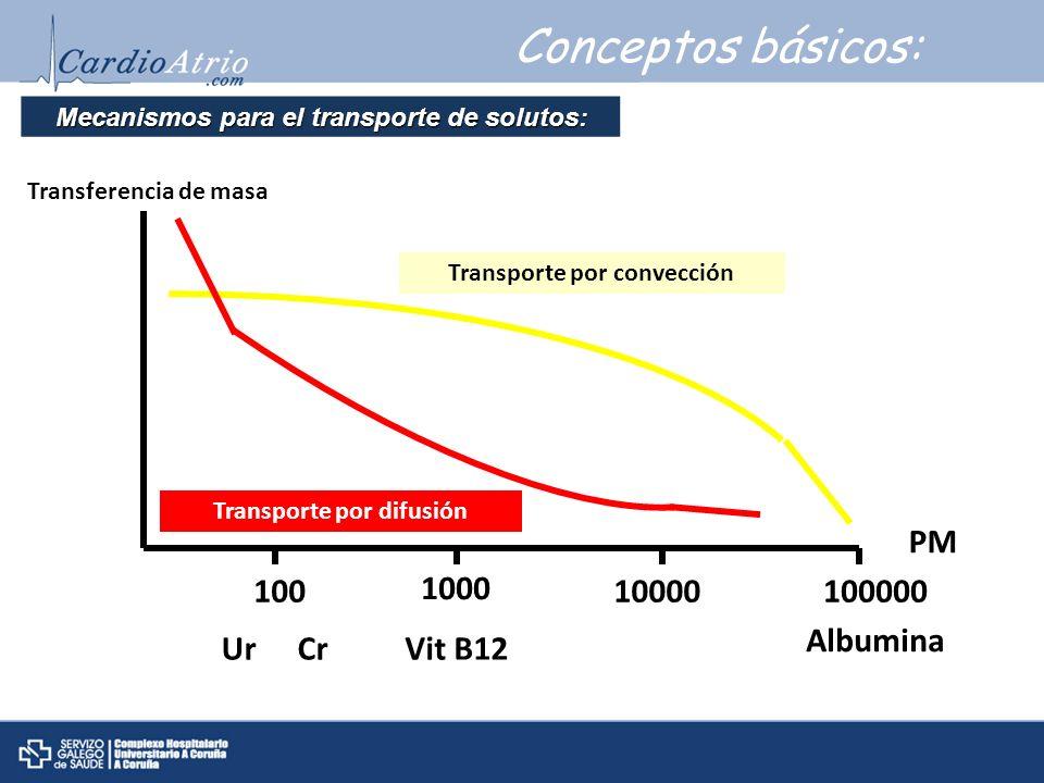 Conceptos básicos: Mecanismos para el transporte de solutos: UrCrVit B12 Albumina 100 1000 10000100000 PM Transferencia de masa Transporte por convecc