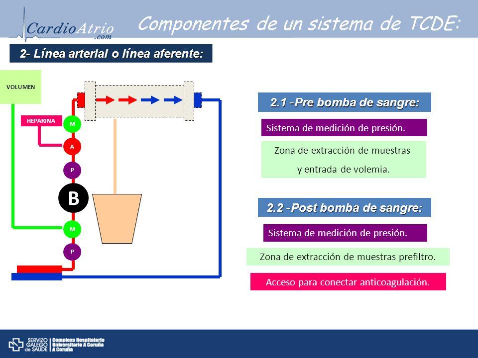Componentes de un sistema de TCDE: 2- L í nea arterial o l í nea aferente: 2.1 – Pre bomba de sangre: Sistema de medición de presión. 2.2 – Post bomba