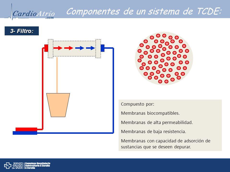 Componentes de un sistema de TCDE: 3- Filtro: Compuesto por: Membranas biocompatibles. Membranas de alta permeabilidad. Membranas de baja resistencia.