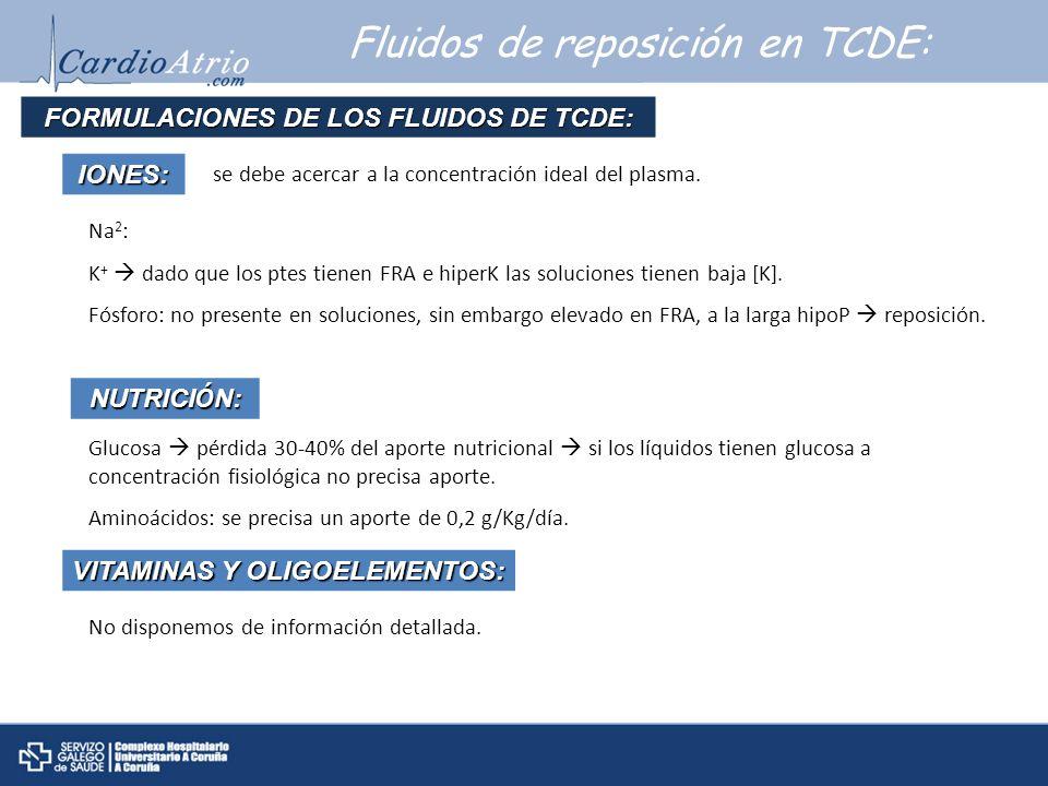 Fluidos de reposición en TCDE: FORMULACIONES DE LOS FLUIDOS DE TCDE: VITAMINAS Y OLIGOELEMENTOS: No disponemos de información detallada.IONES: se debe
