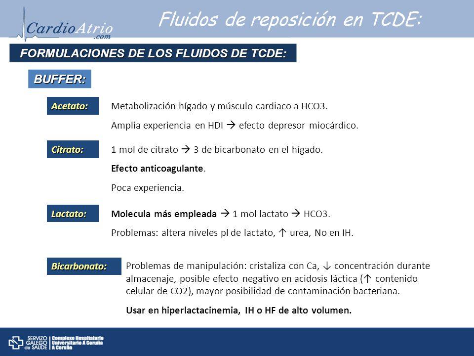 Fluidos de reposición en TCDE: FORMULACIONES DE LOS FLUIDOS DE TCDE: BUFFER:Acetato:Metabolización hígado y músculo cardiaco a HCO3. Amplia experienci