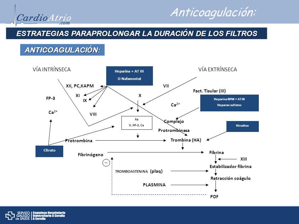 Anticoagulación: ESTRATEGIAS PARAPROLONGAR LA DURACI Ó N DE LOS FILTROS ANTICOAGULACI Ó N: VÍA INTRÍNSECAVÍA EXTRÍNSECA Heparina + AT III O Nafamostat
