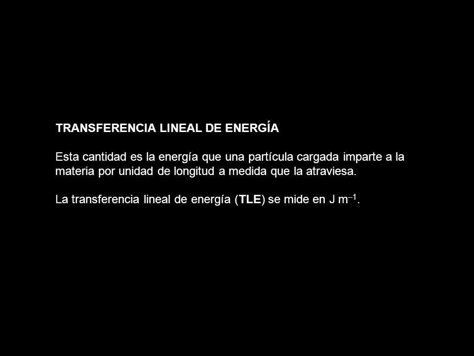 TRANSFERENCIA LINEAL DE ENERGÍA Esta cantidad es la energía que una partícula cargada imparte a la materia por unidad de longitud a medida que la atra