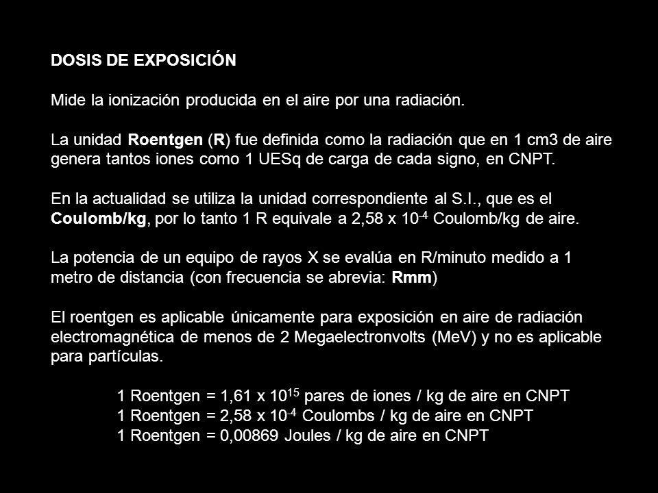 DOSIS DE EXPOSICIÓN Mide la ionización producida en el aire por una radiación. La unidad Roentgen (R) fue definida como la radiación que en 1 cm3 de a