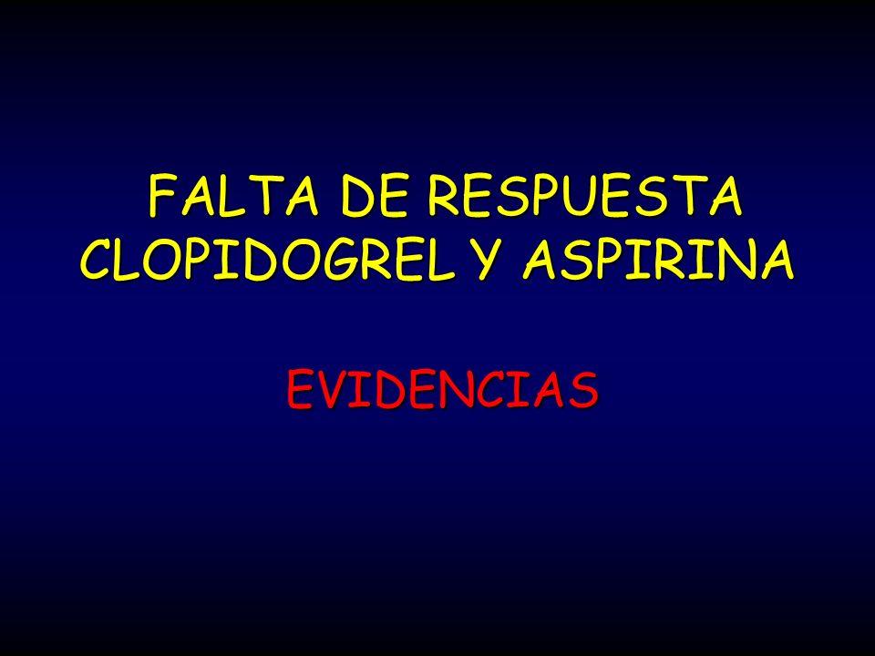 FALTA DE RESPUESTA CLOPIDOGREL Y ASPIRINA FALTA DE RESPUESTA CLOPIDOGREL Y ASPIRINA EVIDENCIAS