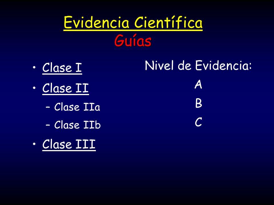 Evidencia Científica Guías Clase I Clase II –Clase IIa –Clase IIb Clase III Nivel de Evidencia: A B C