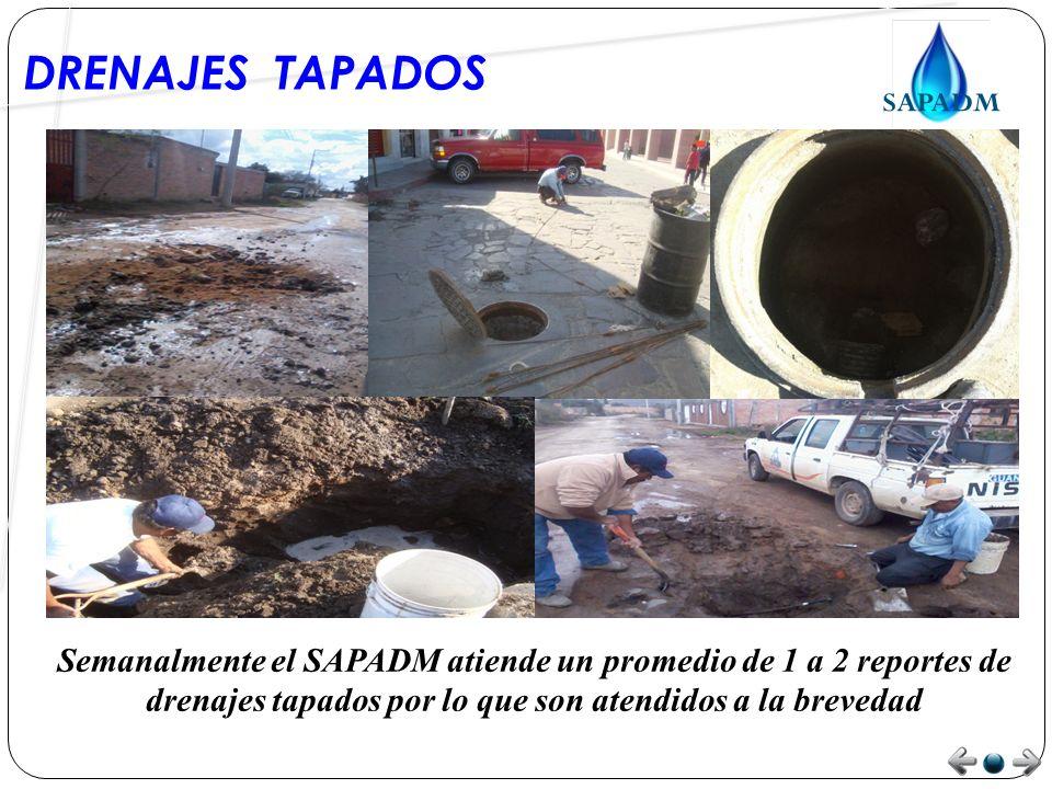 DRENAJES TAPADOS Semanalmente el SAPADM atiende un promedio de 1 a 2 reportes de drenajes tapados por lo que son atendidos a la brevedad