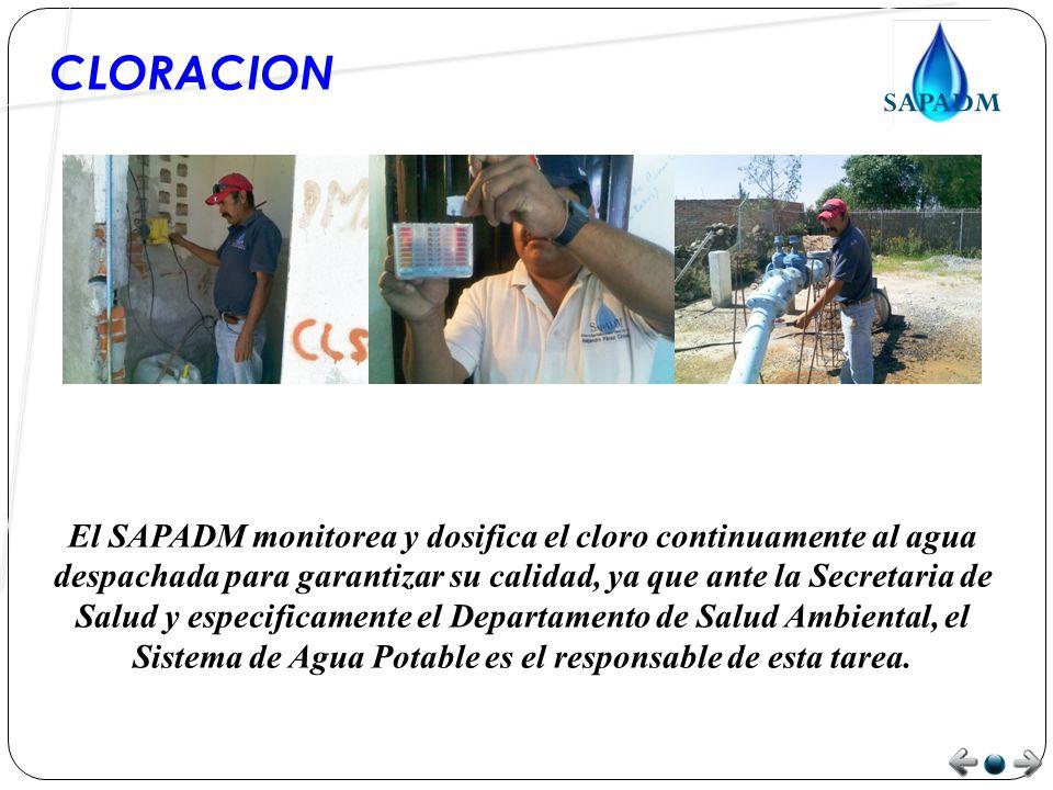 CLORACION El SAPADM monitorea y dosifica el cloro continuamente al agua despachada para garantizar su calidad, ya que ante la Secretaria de Salud y especificamente el Departamento de Salud Ambiental, el Sistema de Agua Potable es el responsable de esta tarea.