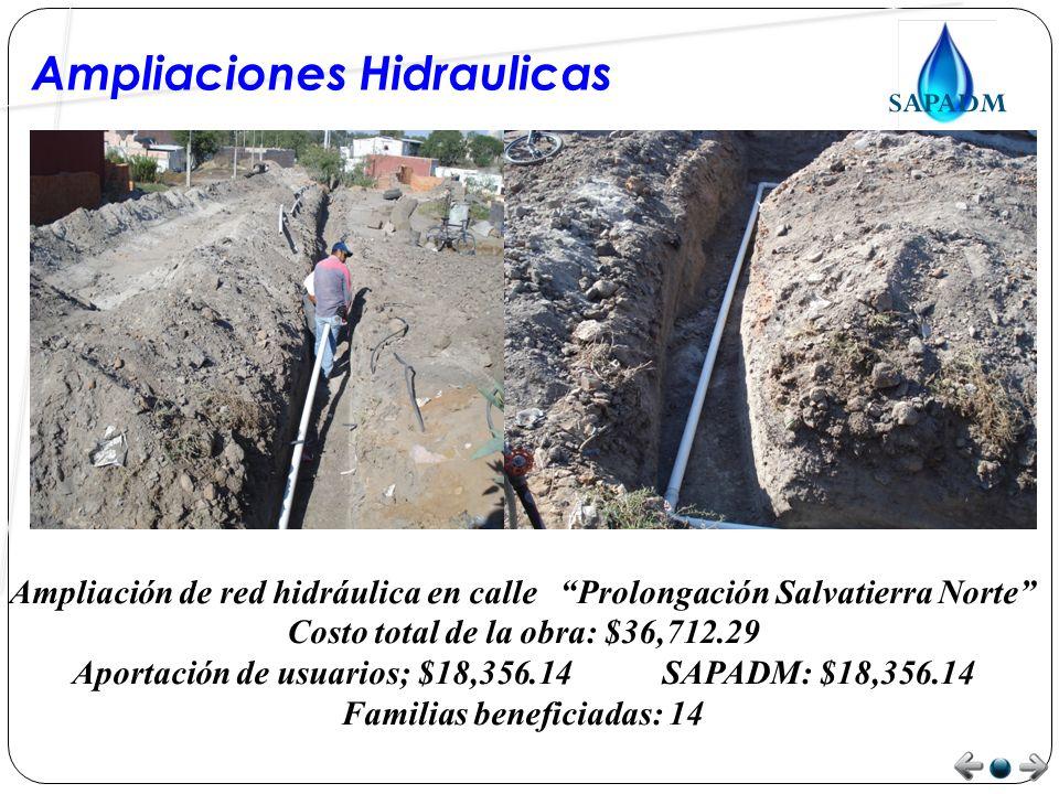 Ampliaciones Hidraulicas ampliación de red hidráulica en calle Prolongación Ocampo Norte Costo total de la obra: $33,537.30 Aportación de los usuarios: $16,768.65 SAPADM: $16,768.65 Familias beneficiadas: 11