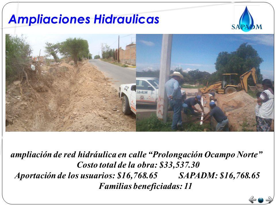 Ampliaciones Hidraulicas ampliación de red hidráulica en calle Coroneo Costo total de la obra: $4,650.00 Aportación de los usuarios: $0.00 SAPADM: $4,650.00 Familias beneficiadas: 5