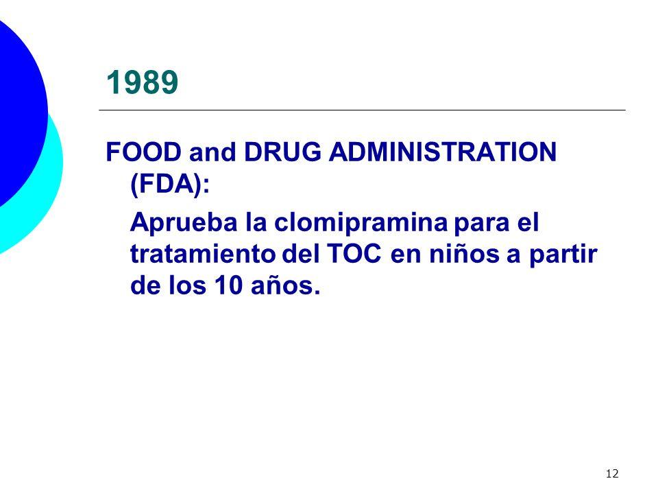 12 1989 FOOD and DRUG ADMINISTRATION (FDA): Aprueba la clomipramina para el tratamiento del TOC en niños a partir de los 10 años.