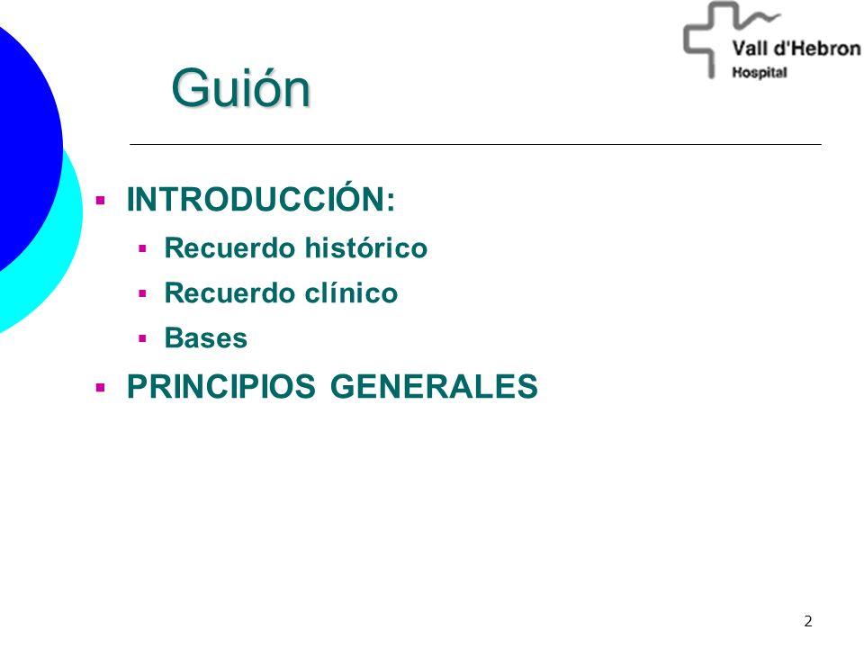 2 INTRODUCCIÓN: Recuerdo histórico Recuerdo clínico Bases PRINCIPIOS GENERALES Guión Guión