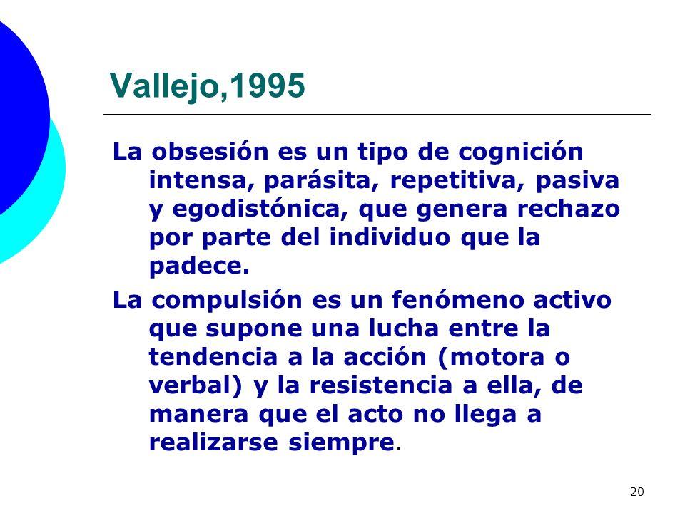 20 Vallejo,1995 La obsesión es un tipo de cognición intensa, parásita, repetitiva, pasiva y egodistónica, que genera rechazo por parte del individuo q