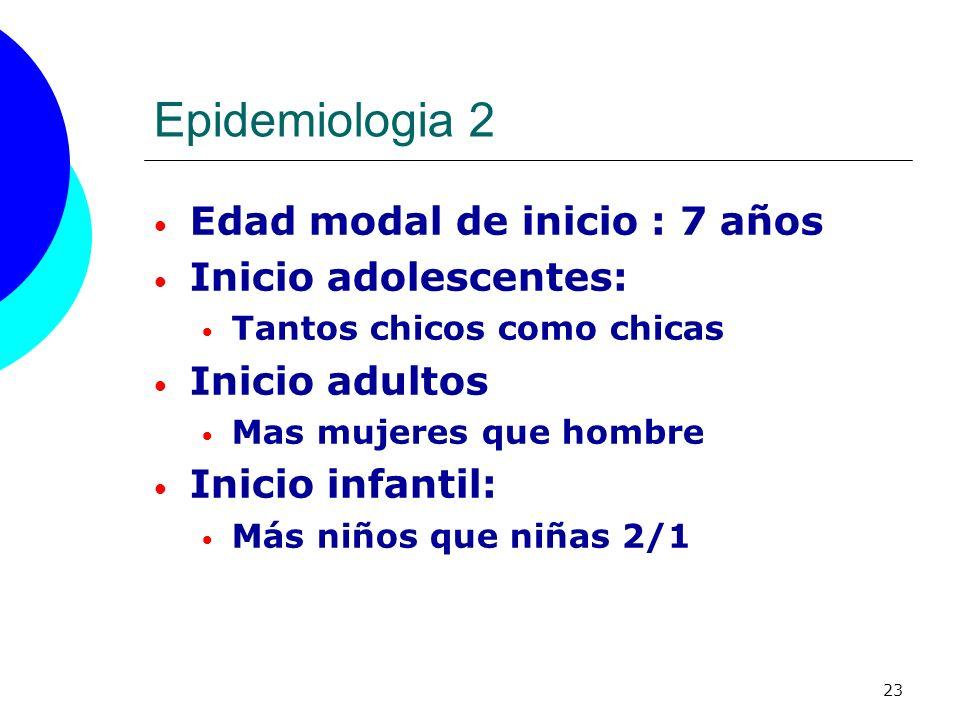 23 Epidemiologia 2 Edad modal de inicio : 7 años Inicio adolescentes: Tantos chicos como chicas Inicio adultos Mas mujeres que hombre Inicio infantil: