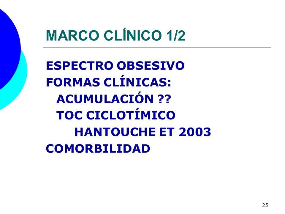25 MARCO CLÍNICO 1/2 ESPECTRO OBSESIVO FORMAS CLÍNICAS: ACUMULACIÓN ?? TOC CICLOTÍMICO HANTOUCHE ET 2003 COMORBILIDAD