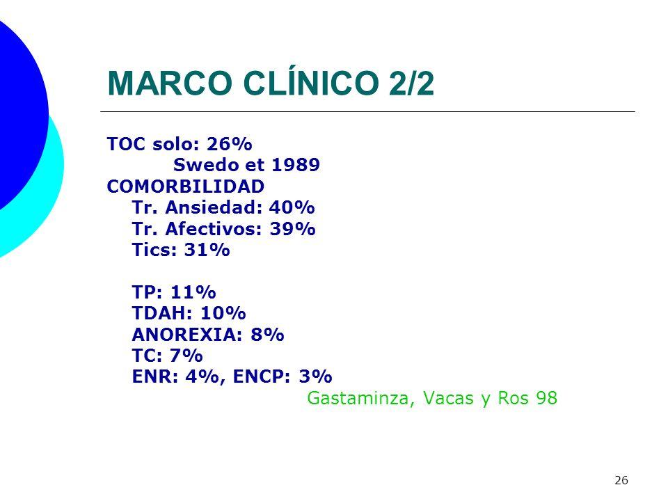 26 MARCO CLÍNICO 2/2 TOC solo: 26% Swedo et 1989 COMORBILIDAD Tr. Ansiedad: 40% Tr. Afectivos: 39% Tics: 31% TP: 11% TDAH: 10% ANOREXIA: 8% TC: 7% ENR