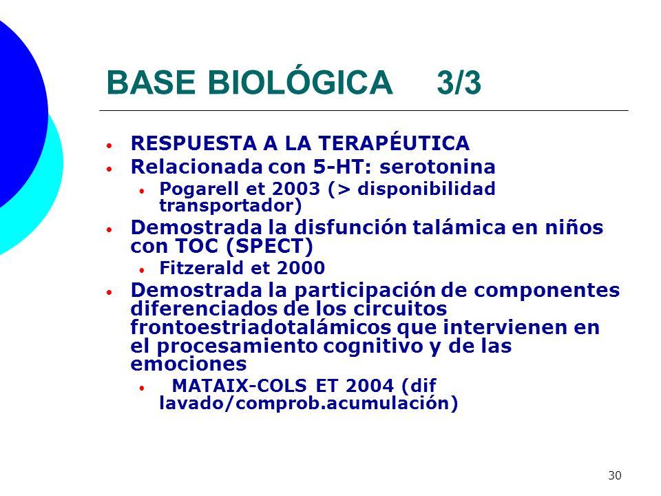 30 BASE BIOLÓGICA3/3 RESPUESTA A LA TERAPÉUTICA Relacionada con 5-HT: serotonina Pogarell et 2003 (> disponibilidad transportador) Demostrada la disfu