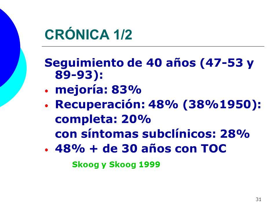 31 CRÓNICA 1/2 Seguimiento de 40 años (47-53 y 89-93): mejoría: 83% Recuperación: 48% (38%1950): completa: 20% con síntomas subclínicos: 28% 48% + de