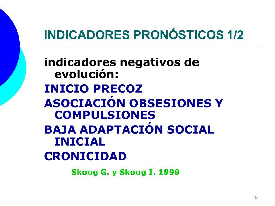 32 INDICADORES PRONÓSTICOS 1/2 indicadores negativos de evolución: INICIO PRECOZ ASOCIACIÓN OBSESIONES Y COMPULSIONES BAJA ADAPTACIÓN SOCIAL INICIAL C