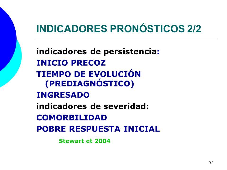 33 INDICADORES PRONÓSTICOS 2/2 indicadores de persistencia: INICIO PRECOZ TIEMPO DE EVOLUCIÓN (PREDIAGNÓSTICO) INGRESADO indicadores de severidad: COM