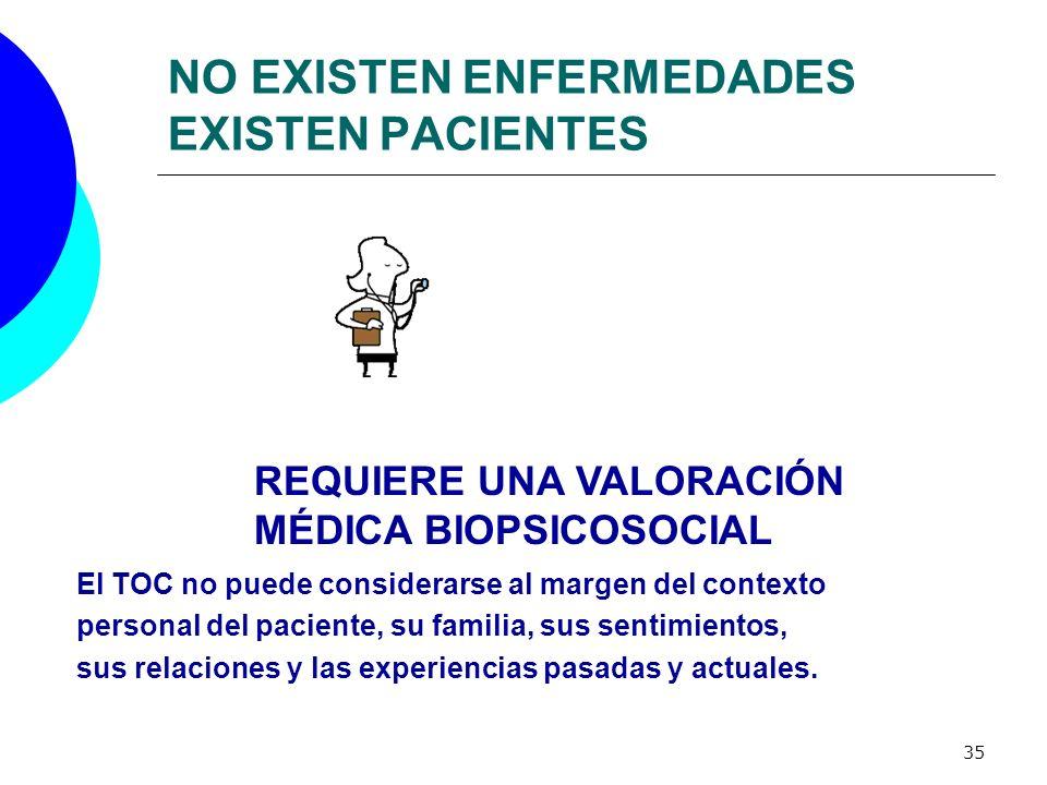 35 NO EXISTEN ENFERMEDADES EXISTEN PACIENTES REQUIERE UNA VALORACIÓN MÉDICA BIOPSICOSOCIAL El TOC no puede considerarse al margen del contexto persona