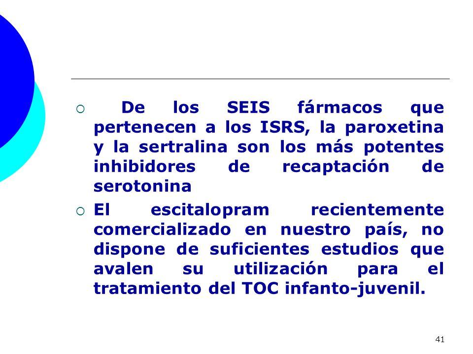 41 De los SEIS fármacos que pertenecen a los ISRS, la paroxetina y la sertralina son los más potentes inhibidores de recaptación de serotonina El esci