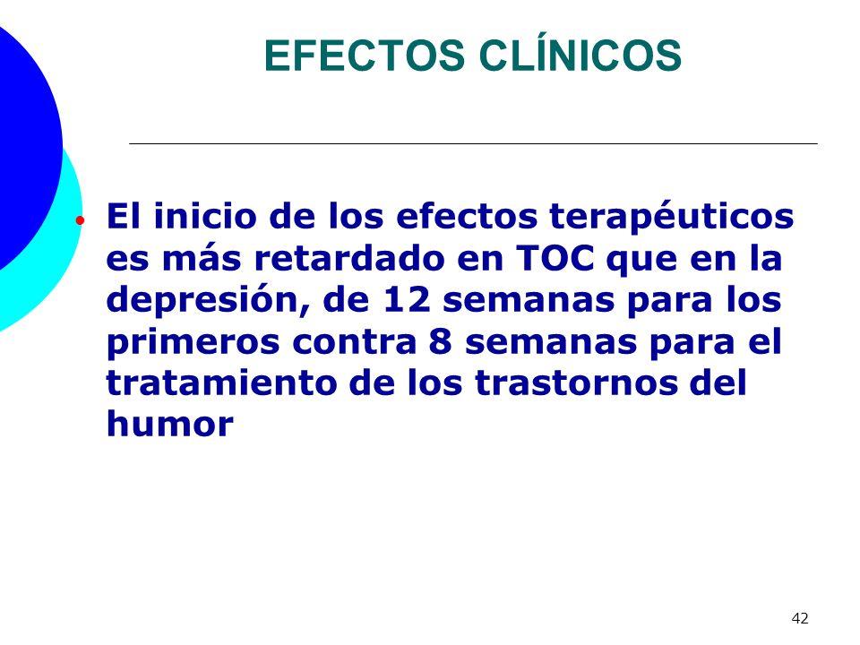 42 EFECTOS CLÍNICOS El inicio de los efectos terapéuticos es más retardado en TOC que en la depresión, de 12 semanas para los primeros contra 8 semana