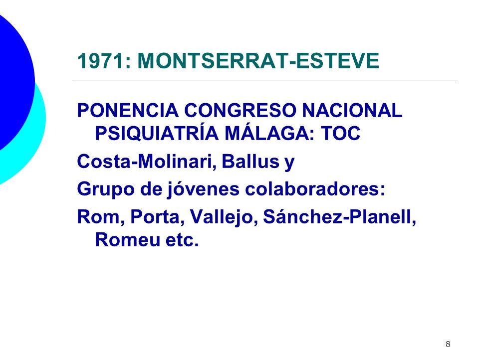 8 1971: MONTSERRAT-ESTEVE PONENCIA CONGRESO NACIONAL PSIQUIATRÍA MÁLAGA: TOC Costa-Molinari, Ballus y Grupo de jóvenes colaboradores: Rom, Porta, Vall