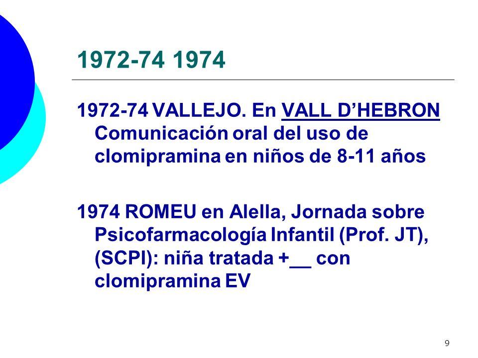 9 1972-74 1974 1972-74 VALLEJO. En VALL DHEBRON Comunicación oral del uso de clomipramina en niños de 8-11 años 1974 ROMEU en Alella, Jornada sobre Ps