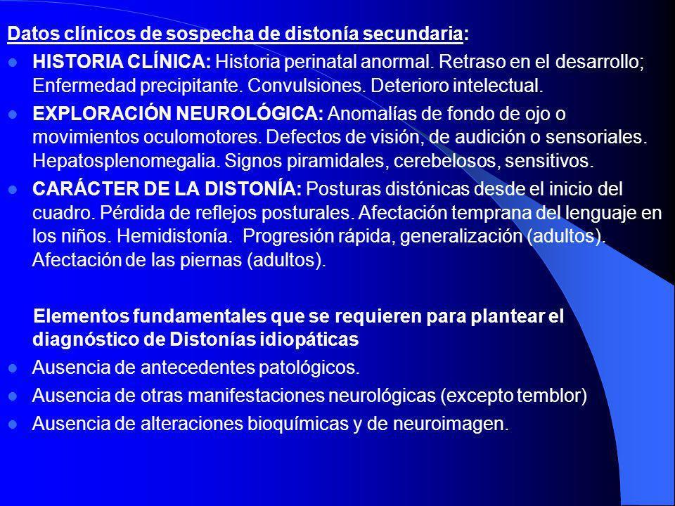 4. Psicogénica 5. Seudodistónica: trastornos psiquiátricos (Munchausen, histeria) ortopédicos (subluxación rotacional atlanto-axoidea, patología ligam