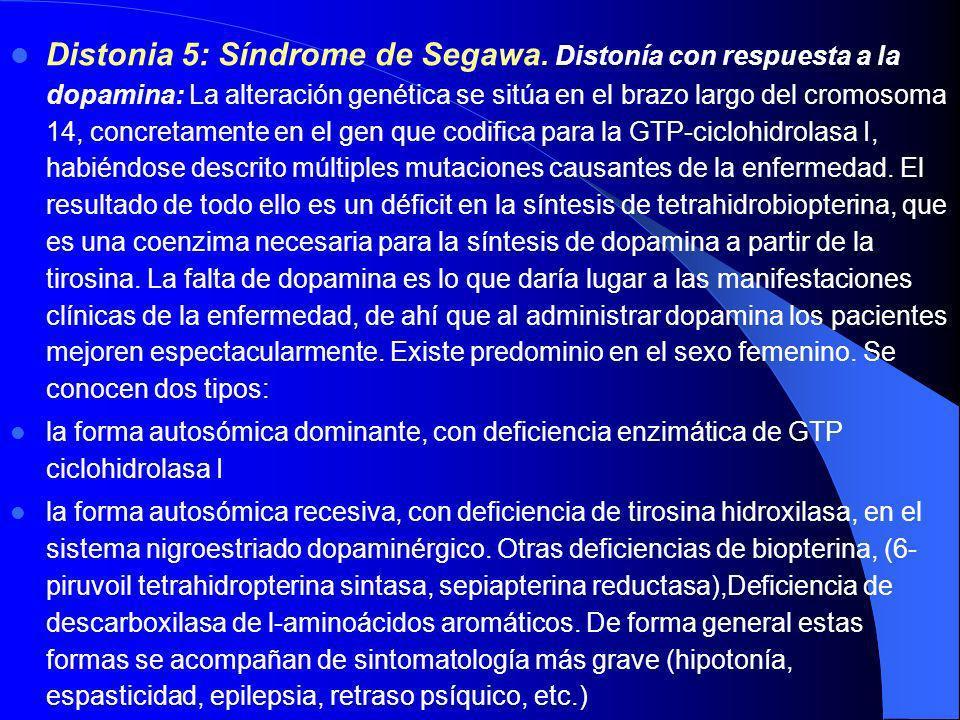 Distonía 3: Distonía-Parkinsonismo ligada al cromosoma X (Lubag) La clínica se inicia en la edad adulta (media, 37 años) y se caracteriza por distonía