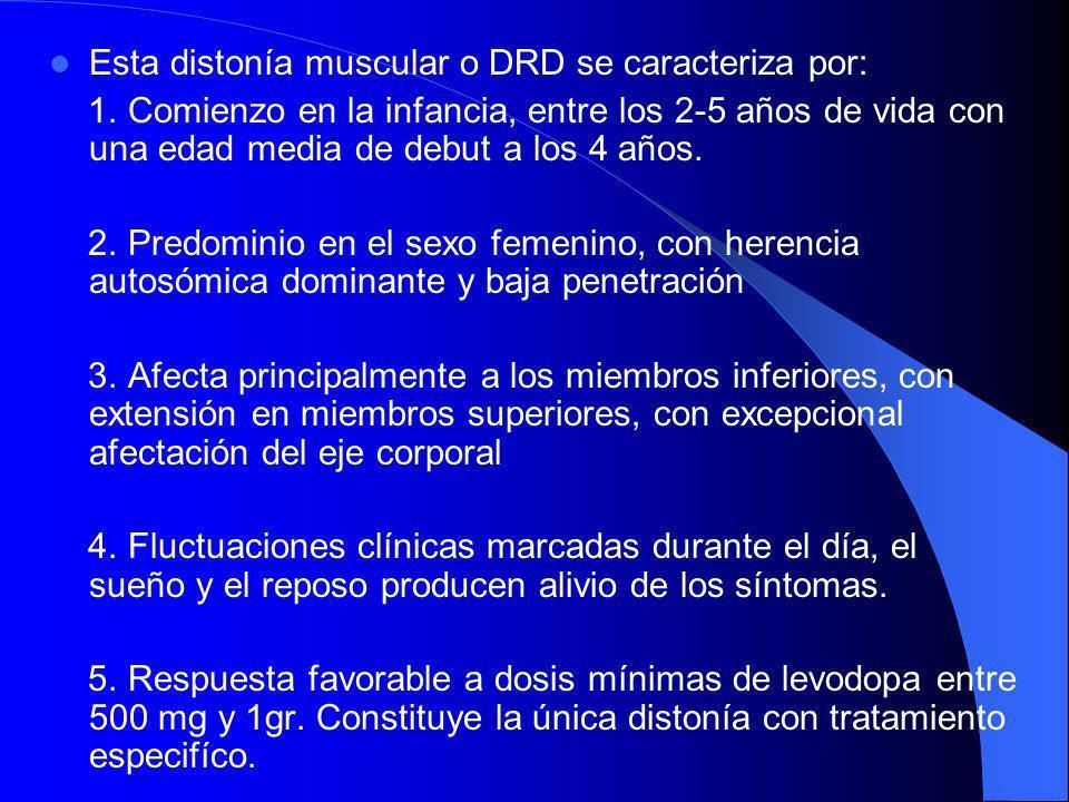 Distonia 5: Síndrome de Segawa. Distonía con respuesta a la dopamina: La alteración genética se sitúa en el brazo largo del cromosoma 14, concretament