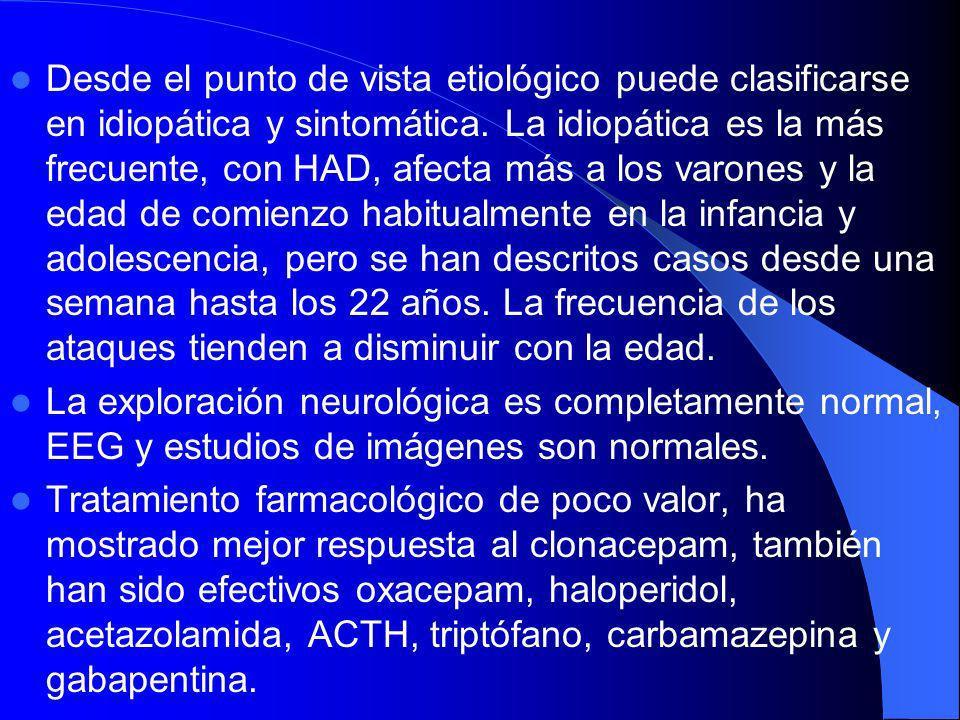 Distonía 8: Discinesia paroxística no cinesigénica: Se manifiesta clínicamente por episodios de movimientos y posturas distónicas, los ataques tienen